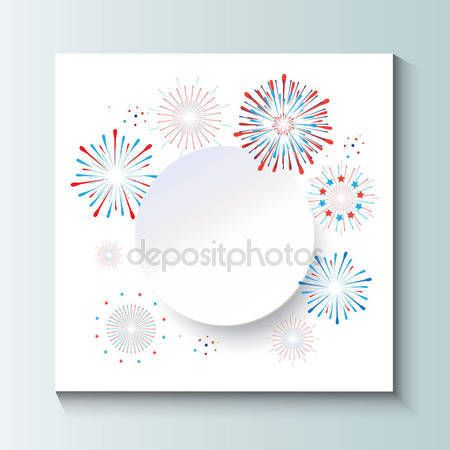 Download - Fireworks background with round paper frame for text. Fireworks, confetti, sparkles, star burst festive background for Happy new year, celebration 4th of july, American National Holiday, eve, champagne. Realistic Firework Vector illustration — Stock Illustration #158946588