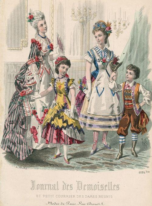 January fancy dress, 1877 France, Journal des Demoiselles et Petit Courrier des Dames Réunis