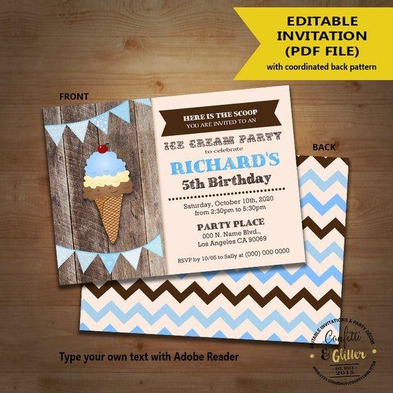 Eis Geburtstag Bash Einladung Eisdiele Party Holz Junge einladen Instan …   – Products