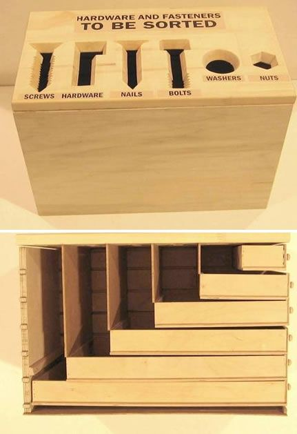 Rachel @ CRAFT points us to this drawer set with graduated boxes for proper and easy hardware storage, what a neat idea!