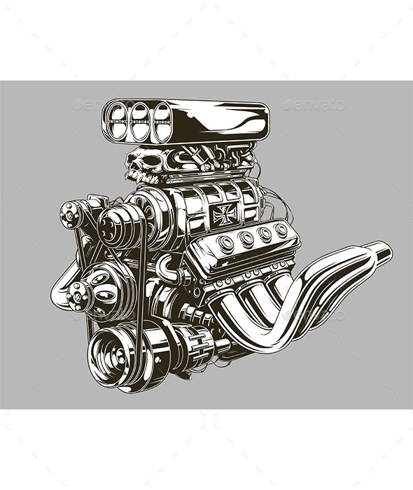 Tattoo Designs Engine: Detailed Hot Road Engine With Skull Tattoo