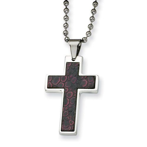 Stainless Steel and Stingray Patterned Cross Necklace Jewelry Adviser Necklaces. $29.50