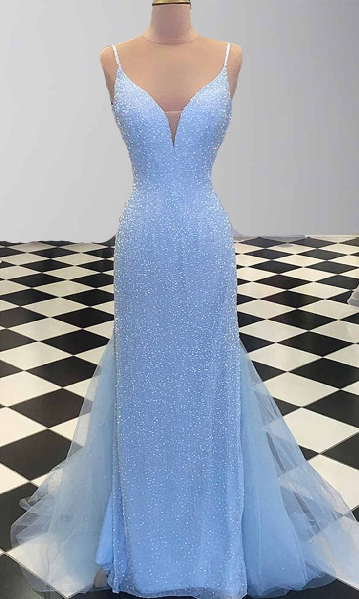 Glitter Blue Tight Evening Prom Dresses with Fishtails KSP498