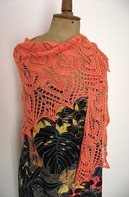 Gail lace knitting shawl, orange