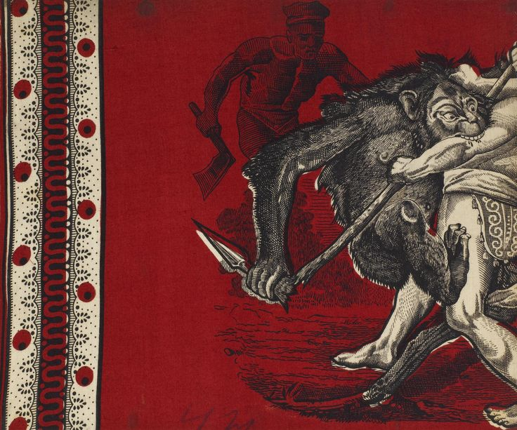 Sample of dyed and printed cotton cloth showing a handkerchief design depicting a monkey attacking a man. Part of the Turkey Red Collection totalling c. 40,000 items: Scottish, Dunbartonshire, by John Orr Ewing and Co., pre 1866.