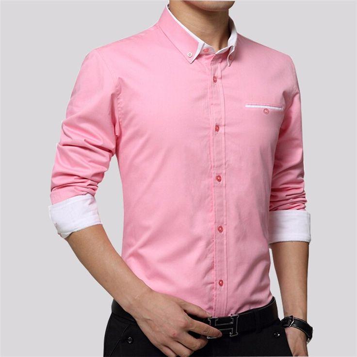 Brand Men Shirts Long Sleeve Turn-down Collar 100% Cotton