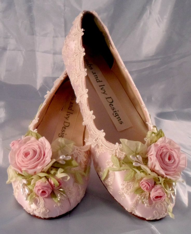 Lace and Roses Pink Rose Balet Slippers Flats ,Garden Woodland Fairytale Bridal Shoes,  Flowers Spring Wedding Shoes, Pink Rose Bridal Shoes by AJuneBride on Etsy https://www.etsy.com/listing/240159954/lace-and-roses-pink-rose-balet-slippers