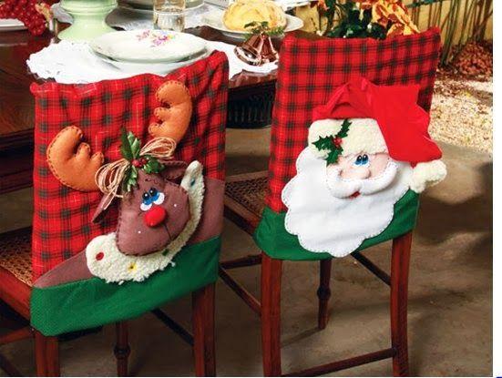Forros de sillas con motivos navideños de renos o santa