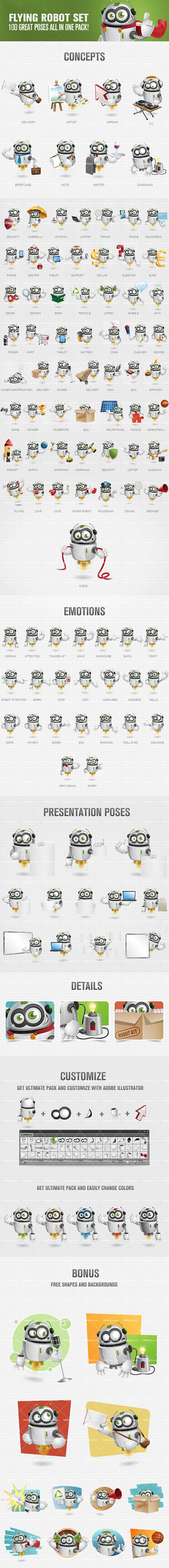 Flying robot cartoon character designed in fun and friendly style. We've made 100 poses which could really add welcome atmosphere to your designs. Get our robot character and use it on your web and print projects. Continue reading →