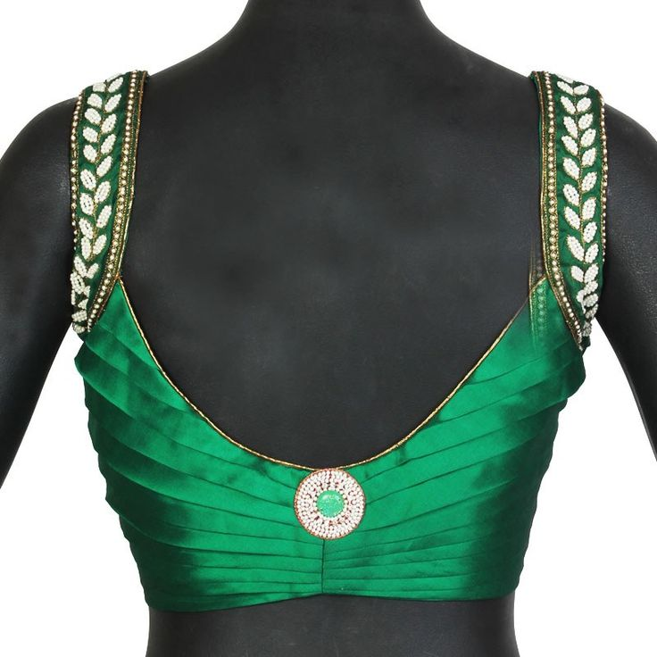 Green Sleeveless Stitched  Blouse With Pearl Work On Shoulder With Pleated Back.-Clothing-The Blouse Factory
