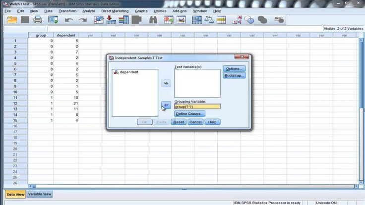 Welch's t-test (unequal variances) - SPSS I demonstrate how to perform Welch's t-test in SPSS. Welch's test can be used to test the difference between two group means when the group variances are unequal and even if the sample sizes are unequal as well.