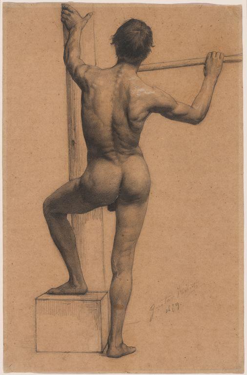 Gustav Klimt  Austrian, 1862-1918  Male Nude with Left Foot on a Pedestal, 1879