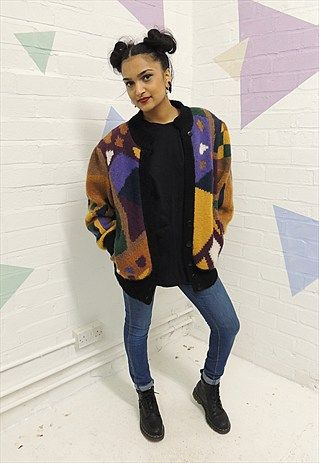 Vintage 80's Multi coloured Chunky Knit Cardigan