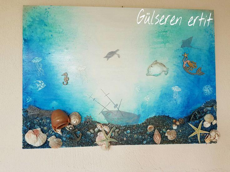 Gülseren ertit  mixed media ile denizaltı konseptli tablom