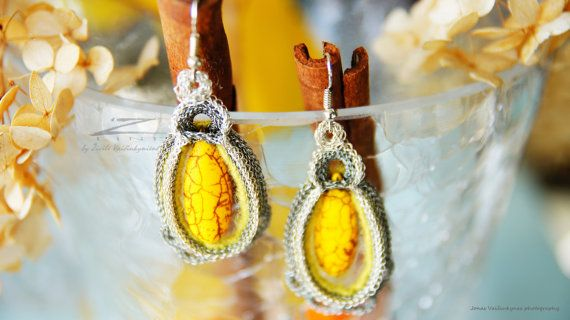 Hand crocheted unique earrings Sunshine made by Zivile by ZetLine