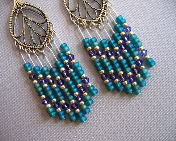 like this site http://www.etsy.com/listing/81128426/silver-teal-green-chandelier-earrings
