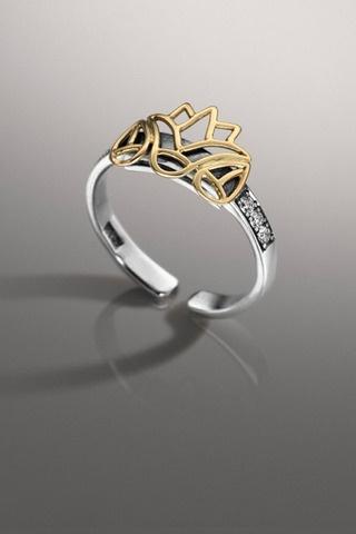 Fabulous Azza Fahmy Diamond Lotus Ring Egyptian