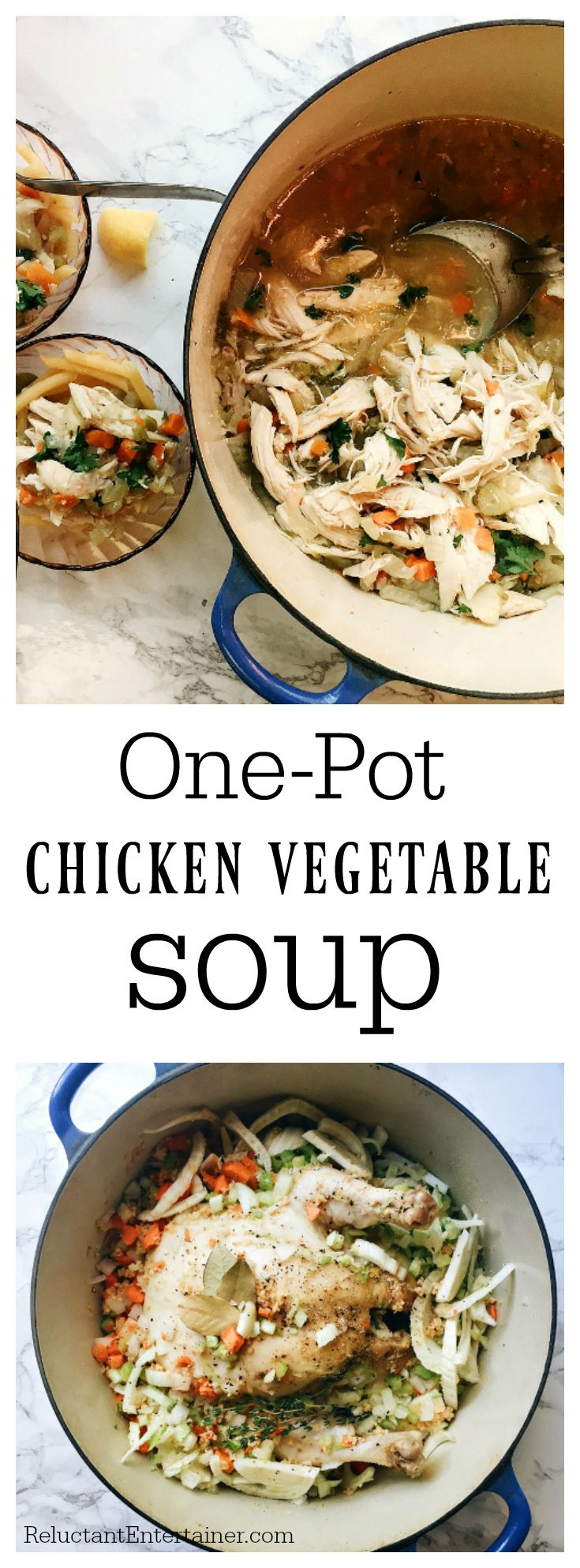 One-Pot Chicken Vegetable Soup, served with noodles and fresh lemon