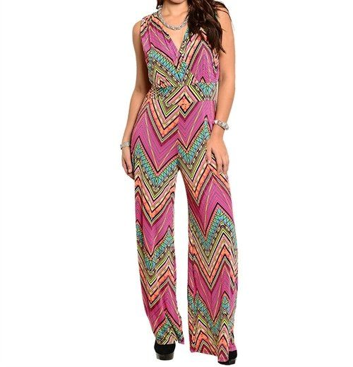 LAST+ONE!!+Plus+Size+Chevron+Zig+Zag+Sleeveless+Mix+Print+Jumpsuit