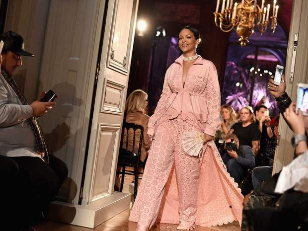 Rihanna walks the runway during her Fenty Puma Spring 2017 collection show as part of Paris Fashion Week on September 28, 2016.