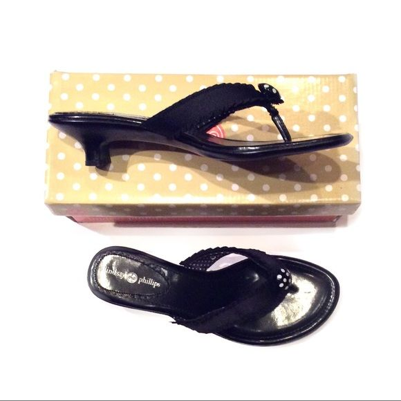 "HP NWT Lindsay Phillips Black Kitten Heels 10  Host Pick for the Best in Shoes Party 7-15-16 Chosen by @verbalgymnast  NWT Lindsay Phillips Black SwitchFlops Kitten Heels with Black and White Polka Dot straps. Size 10. Heels are 2"". Straps are Interchangeable. No Trades, PayPal or Low Ball Offers Lindsay Phillips Shoes Sandals"