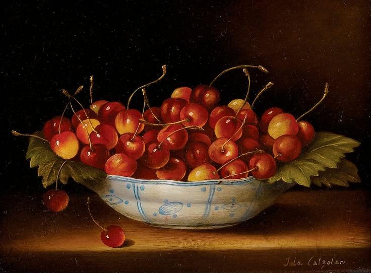 IDA CALZOLARI (Italian, b. 1936). Still Life with Cherries.