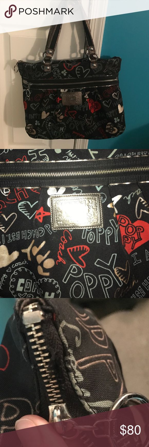 Authentic Coach Poppy heart graffiti Large tote Authentic Coach Poppy heart graffiti Large tote        Used. Zipper has a small hole.. see picture. Still zips up all the way. Purse use reflects the price Coach Bags Totes