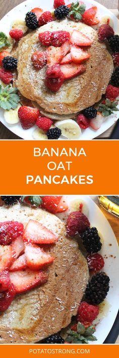 Banana oat pancakes no oil vegan
