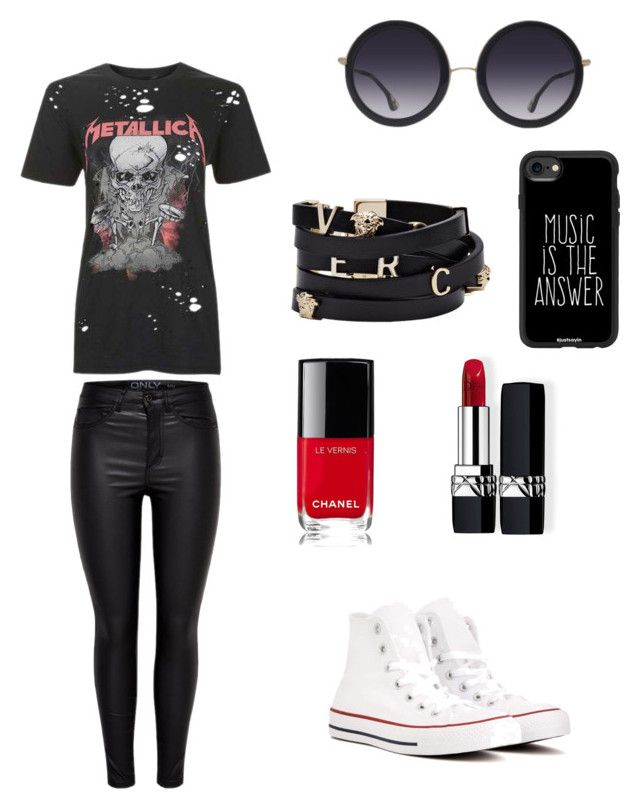 """""""Untitled #6"""" by kassiaraya on Polyvore featuring Topshop, Converse, Chanel, Christian Dior, Versace, Casetify and Alice + Olivia"""