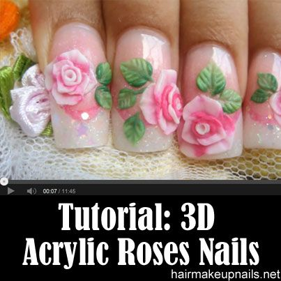 How to make pink 3D acrylic roses @Carla Gentry Watkins Flower prints are good foe upcoming big holiday. #nails