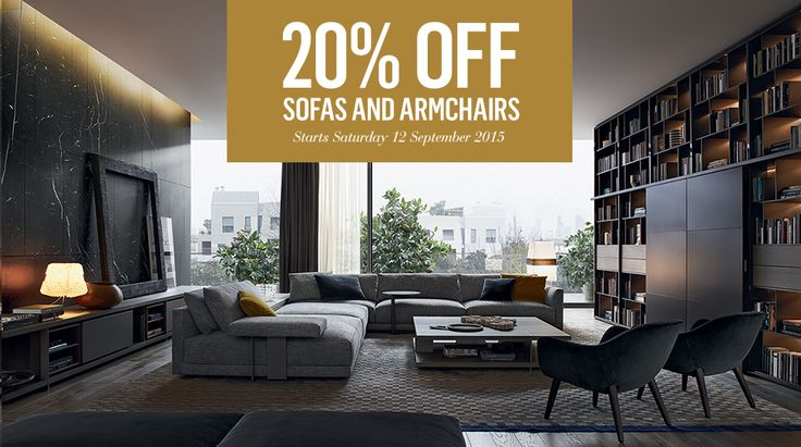 20% off sofas and armchairs until Sunday 11 October 2015. Shop now online or instore with Poliform. Conditions apply.