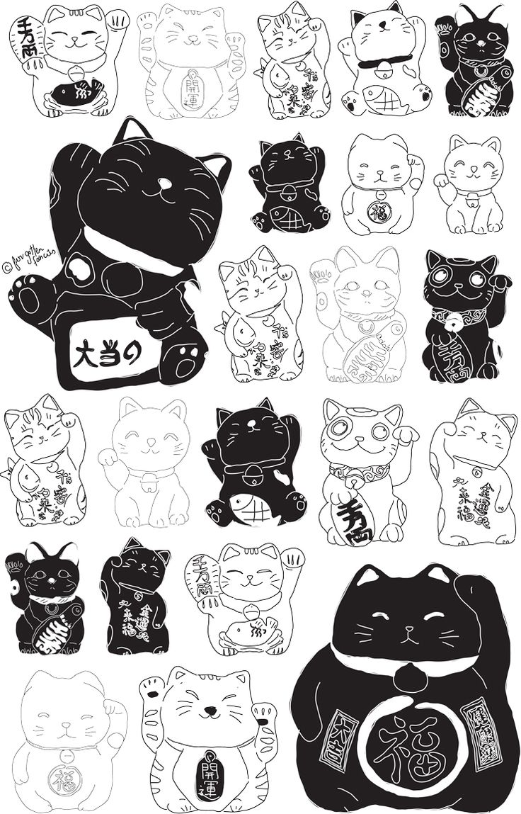 lucky cat drawing - Google Search                                                                                                                                                     More
