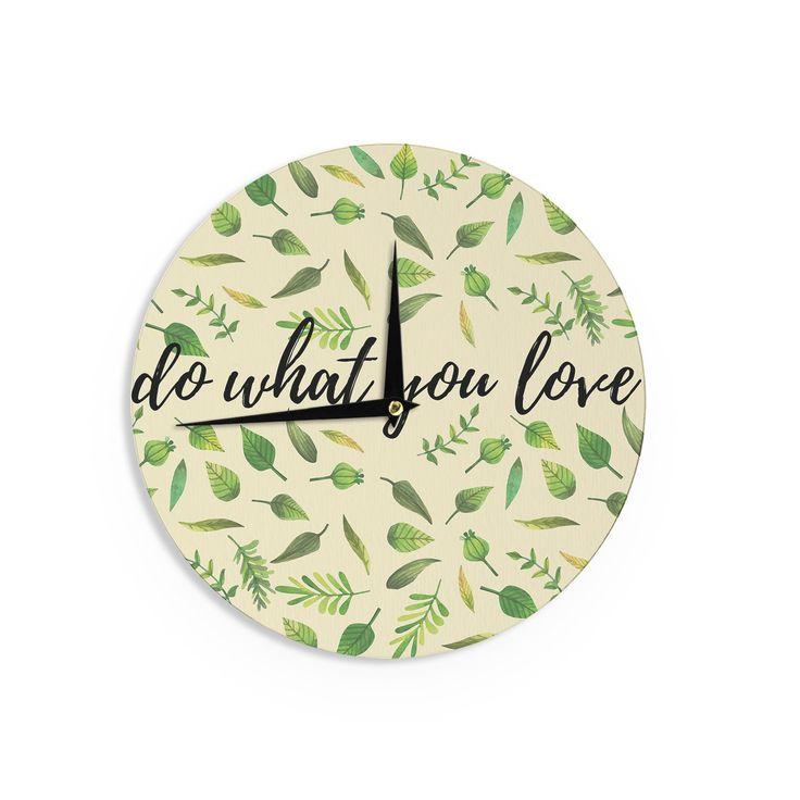 "KESS Original ""Do What You Love"" Green Beige Wall Clock"