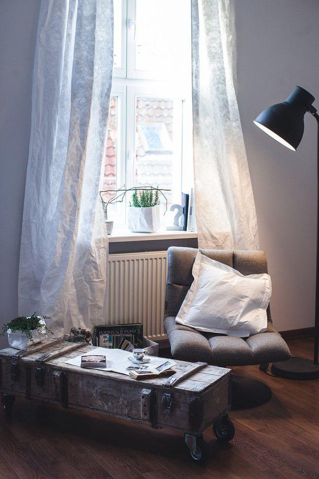 Białe zasłony do salonu - Tavana-Studio - Dekoracje okienne