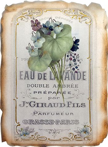 French Perfume Online Class - Painted on a copy of a vintage French perfume label, this violet nosegay is a wonderful project for the beginner and accomplished oil painter alike. Printed on paper, it can be torn, stained and then mounted to mat board and, then framed for a lovely accent in a bedroom or vanity. With just over 3 hours of video clips, and the accompanying instructions and photos, you will enjoy painting this fun project. Perfect for gift giving.
