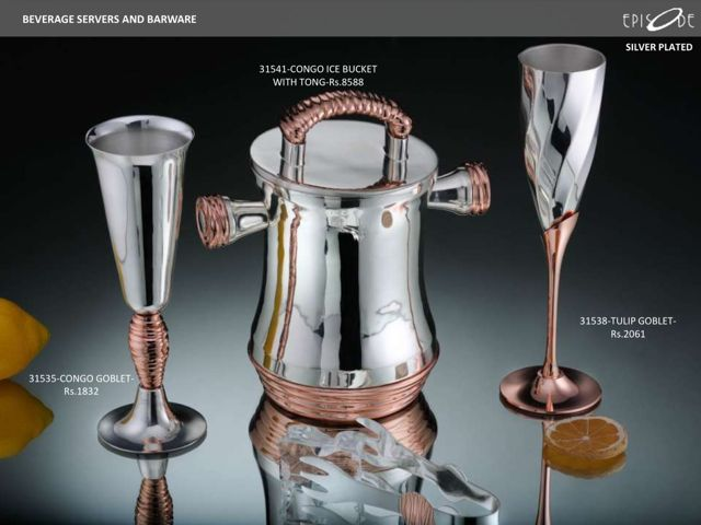Silver-Plated Congo Goblet, Ice Bucket, Tulip Goblet. Call- 9830554561.
