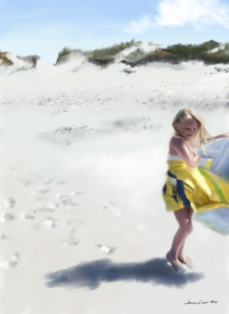 My daughter, Sara, on the beach at Tisvilde. Paiting by Jonas Linell 2016. #art #painting #portrait #children #kunst #artist #figurative #classic #impressionism #digital #beach #sun #sunny #kids