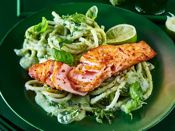 Photo of Salmon on avocado and basil noodles