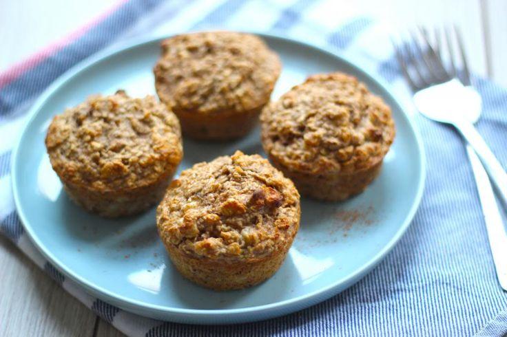 Gezonde muffins met havermout, banaan en walnoten 125 gram havermout 150 ml melk 1 ei 2 bananen 2 theelepels kaneel 1 theelepel bakpoeder handje walnoten