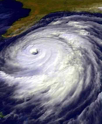 Satellite image of Hurricane Floyd. It was a very powerful Cape Verde-type hurricane which struck the east coast of the United States. It was the sixth named storm, fourth hurricane, and third major hurricane in the 1999 Atlantic hurricane season.