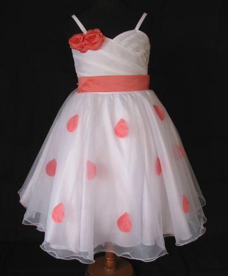 """Φορέματα για Παρανυφάκια - Επίσημα Φορέματα για Κορίτσια :: Μοναδικό Παιδικό Λευκό με Κοραλί, Φόρεμα για βάφτιση, Παρανυφάκι, """"Delphine"""" - http://www.memoirs.gr/"""