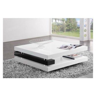 Table de salon carr design blanc laqu et noir table - Table basse carre blanc laque ...