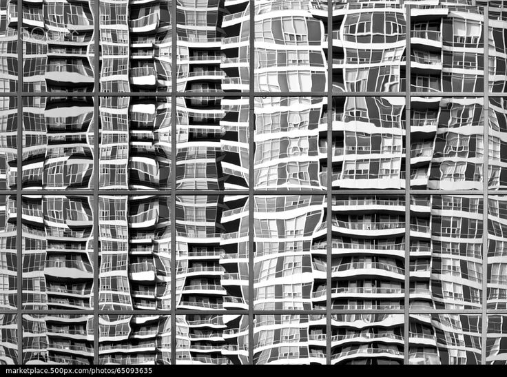 Skewed Reflections, Condo Tower - stock photo
