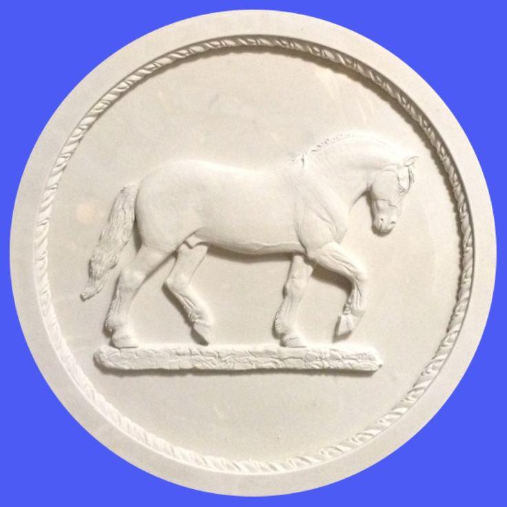 """Тарелка """"Русский тяжеловоз"""" Гипс. Диаметр 39 см. 2017. #лошадь #конь #скульптура #скульптуралошади #тяжеловоз #арт #equine #art #horse #arthorse # equinart #sculpture"""