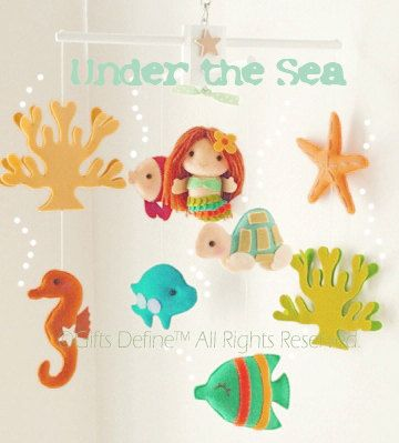 Musical Baby Mobile with Mermaid Under the Sea Theme (Artist Choice Color) -  Crib Nursery Hanging Mobile for Modern Nautical Nursery Decor