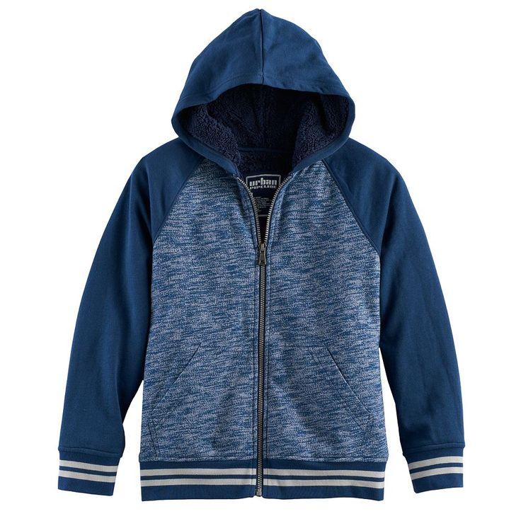 Boys 8-20 Urban Pipeline® Raglan Sherpa-Lined Fleece Hoodie, Size: Medium, Blue