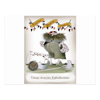 vintage german goalkeeper postcard - postcard post card postcards unique diy cyo customize personalize