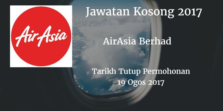 Jawatan kosong AirAsia Berhad 19 Ogos 2017  AirAsia Berhad mencari calon-calon yang sesuai untuk mengisi kekosongan jawatan AirAsia Berhad terkini 2017.  Jawatan kosong AirAsia Berhad 19 Ogos 2017  Warganegara Malaysia yang berminat bekerja di AirAsia Berhad dan berkelayakan dipelawa untuk memohon sekarang juga. Jawatan Kosong AirAsia Berhad Terkini 19 Ogos 2017 1. CABIN CREW REGISTRATION TIME 9AM TO 11AM except or Kota Kinabalu 10AM TO 12 NOON DATE : 19 August 2017  VENUE : AirAsia Office…