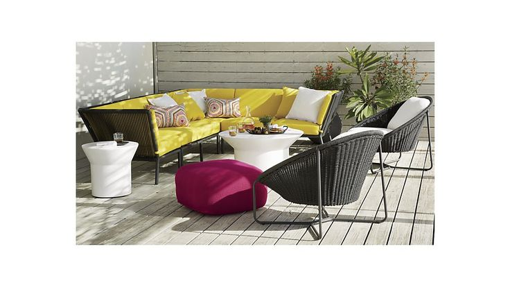 obsessed with #CrateandBarrel's Morocco collection: Sectional Armless Chair with Sunbrella ® Cushion | Crate and Barrel