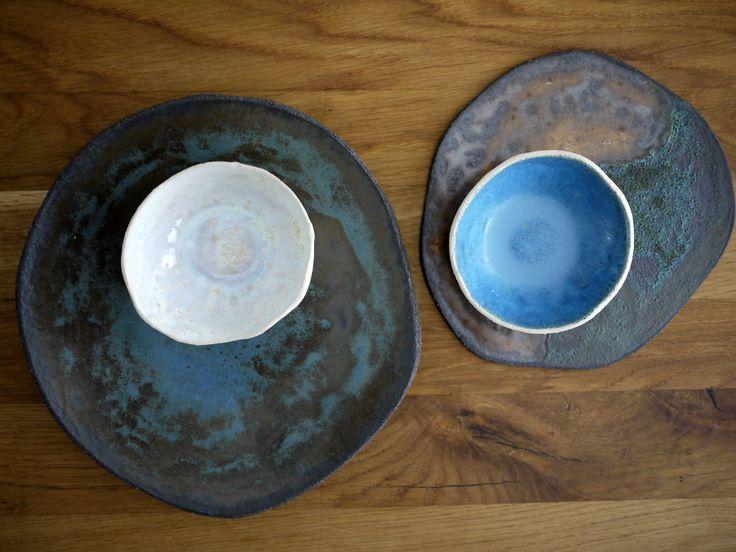rusty handmade ceramic tableware, dinnerware, bowls, plates, white, blue